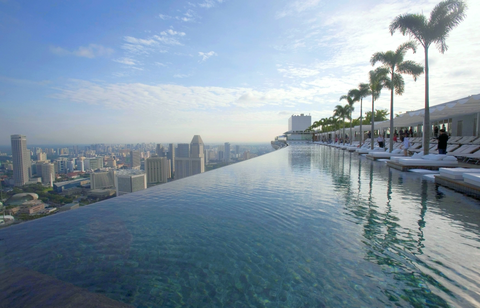 A view of the infinity pool of the Skypark that tops the Marina Bay Sands hotel towers in Singapore