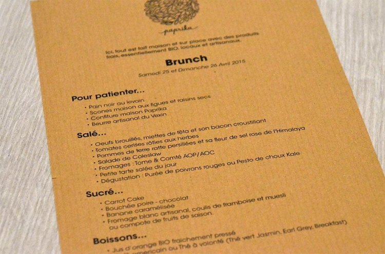 Paprika brunch menu